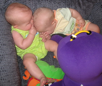 Crashed while playing with Mr. Octopus - Brina and Karliec
