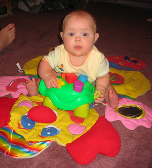 Karlie playing on the clownc