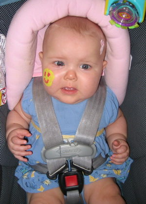 Karlie unsure about this whole face painting experiencec