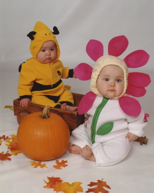 Flashback Friday - 1st Halloween - Brina the Bee and Karlie the Flower (Oct. 2005 - 8 Months)c