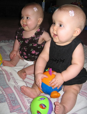 Flashback Friday - Brina and Karlie watching Daddy, he just brought out the trainc
