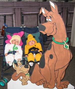 Karlie and Brina saw Scooby Doo at Jake's work's Halloween partyc